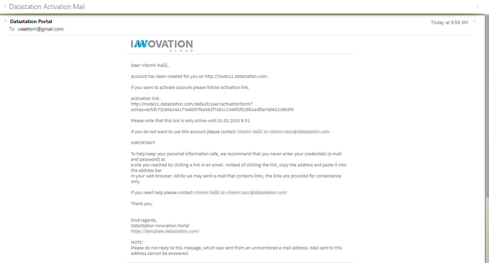 Activation email for Innovation Cloud