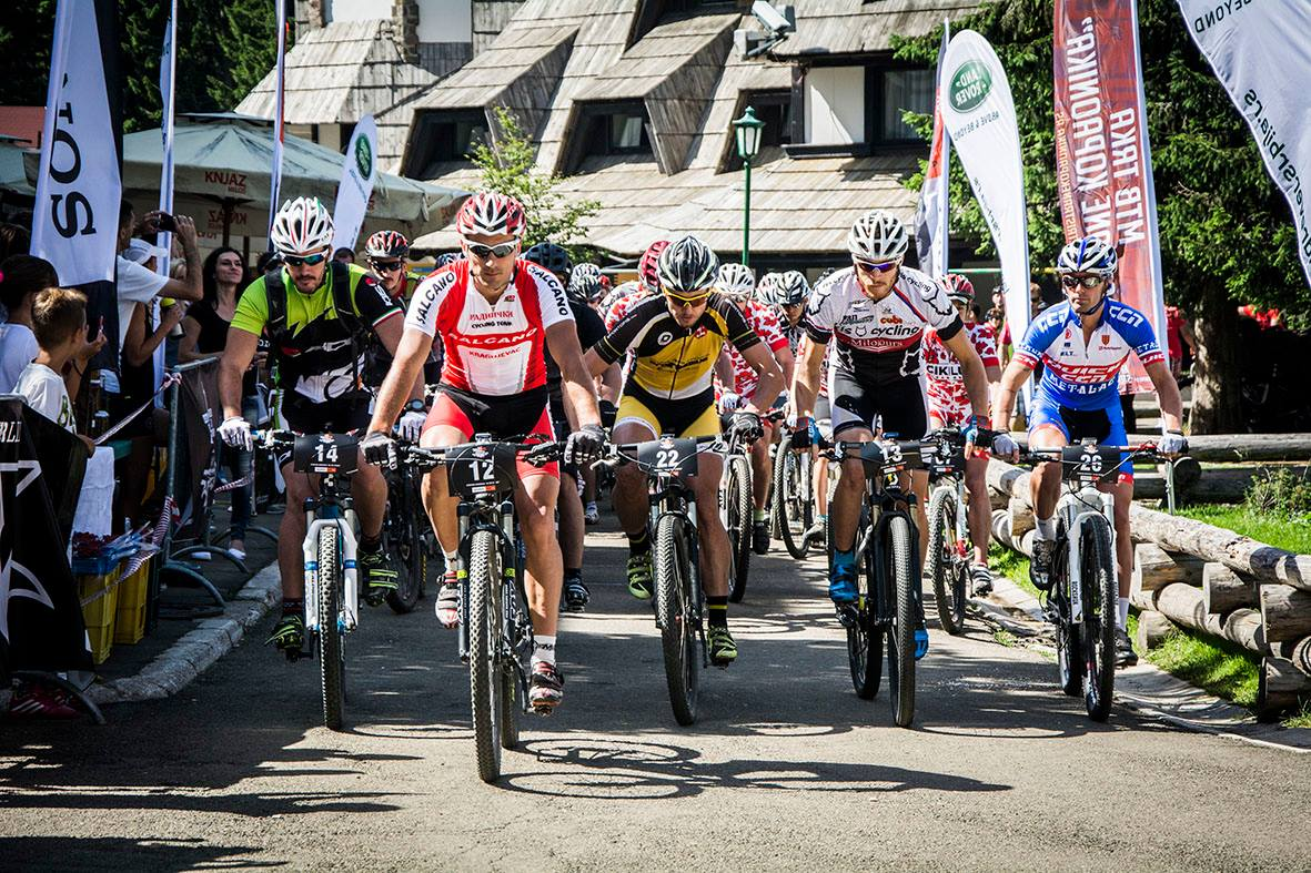 Start line at 2nd mountain bike race