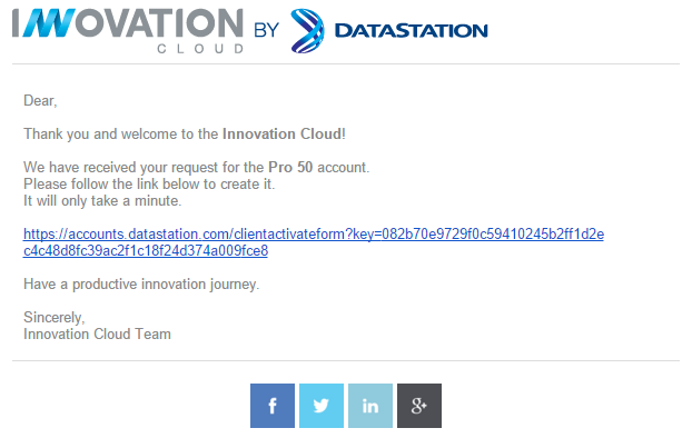 Innovation Cloud Activation email