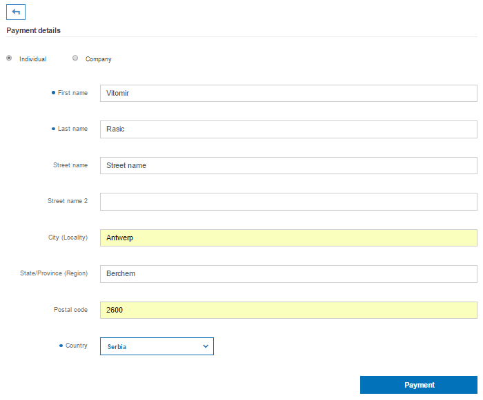 Entering payment details for the Innovation Cloud PRO