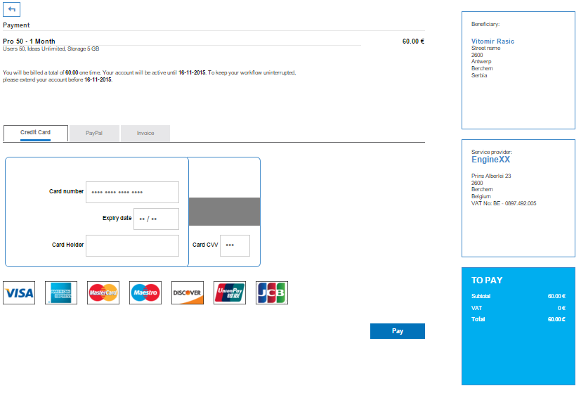 Check out and Finishing payment for the Innovation Cloud PRO
